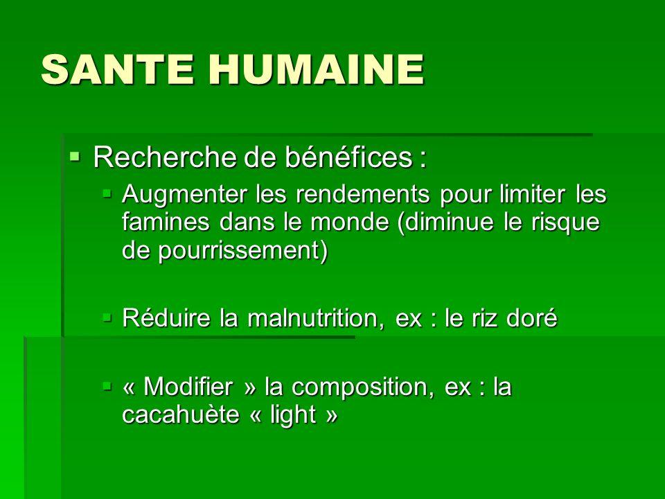 SANTE HUMAINE Recherche de bénéfices :