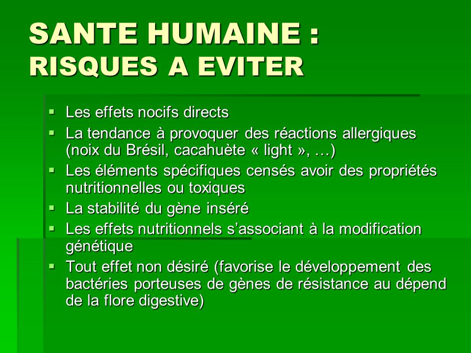 SANTE HUMAINE : RISQUES A EVITER