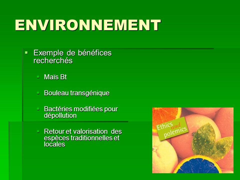 ENVIRONNEMENT Exemple de bénéfices recherchés Maïs Bt