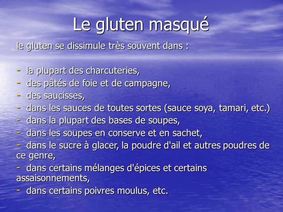 Le gluten masqué le gluten se dissimule très souvent dans :