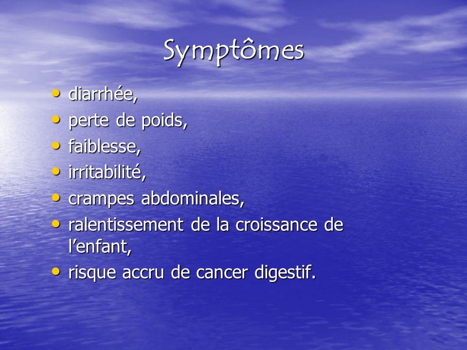 Symptômes diarrhée, perte de poids, faiblesse, irritabilité,