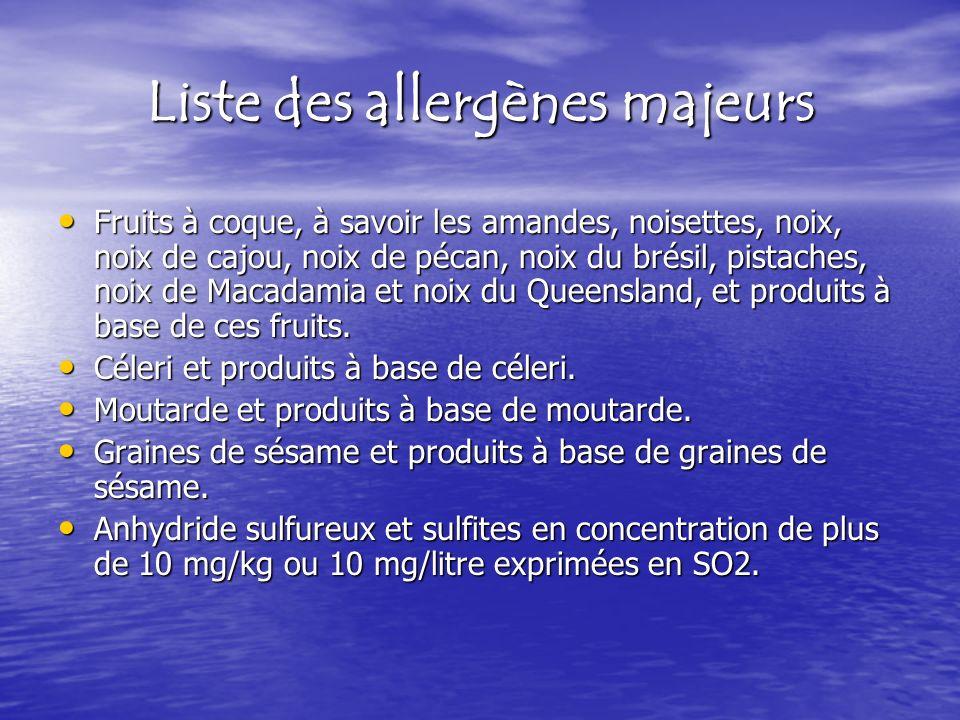 Liste des allergènes majeurs