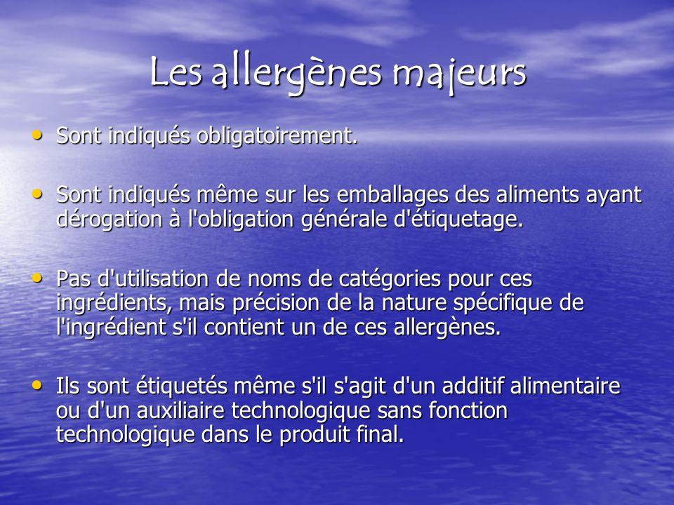 Les allergènes majeurs