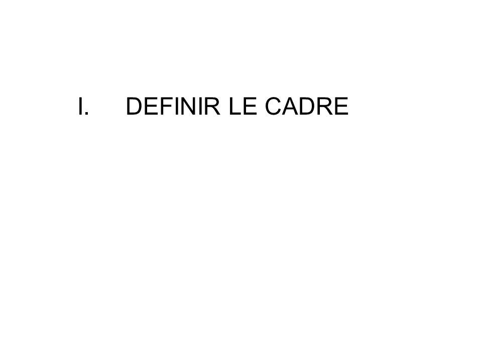 I. DEFINIR LE CADRE