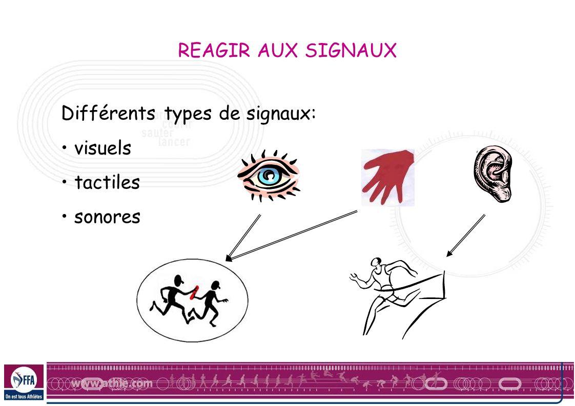 REAGIR AUX SIGNAUX Différents types de signaux: visuels tactiles sonores