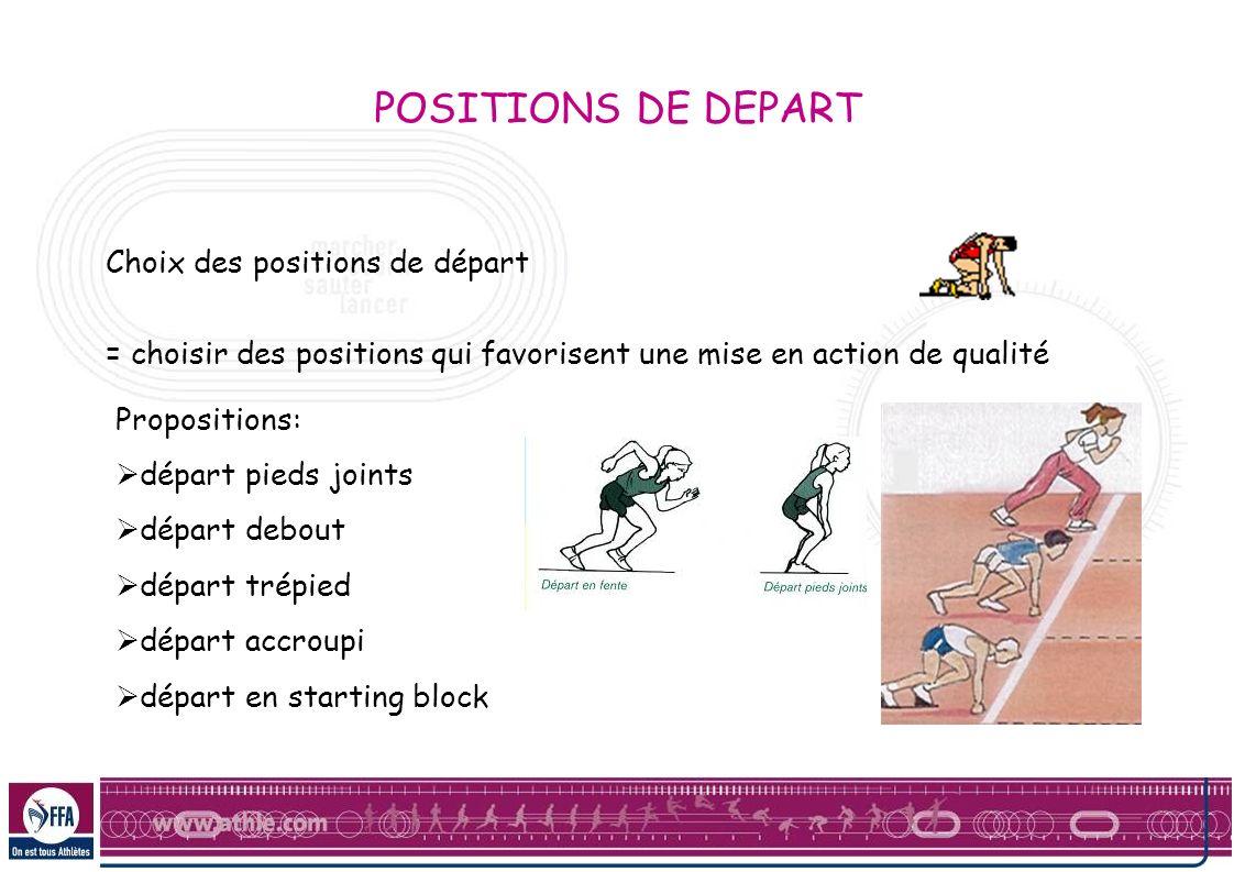 POSITIONS DE DEPART Choix des positions de départ