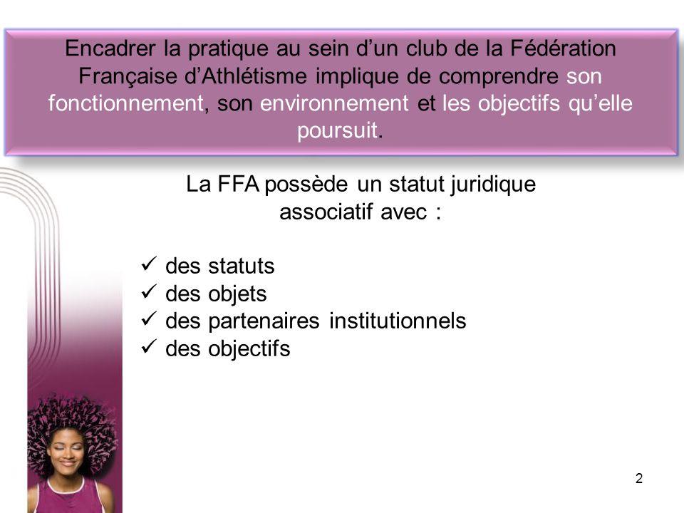 La FFA possède un statut juridique associatif avec :