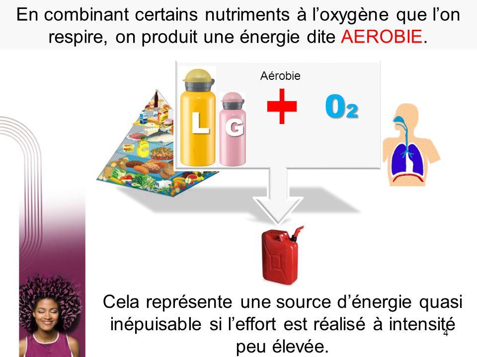 En combinant certains nutriments à l'oxygène que l'on respire, on produit une énergie dite AEROBIE.