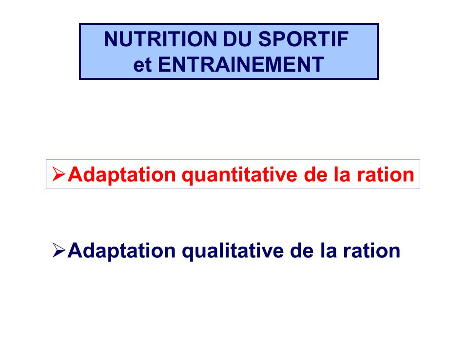 NUTRITION DU SPORTIF et ENTRAINEMENT. Adaptation quantitative de la ration. Adaptation quantitative de la ration.
