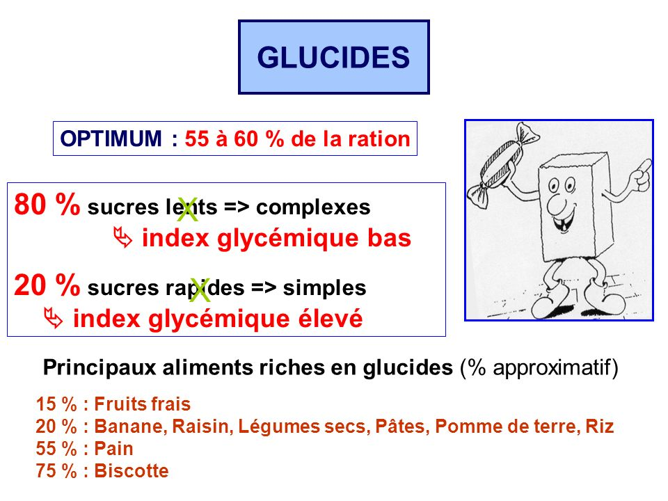 X X GLUCIDES 80 % sucres lents => complexes