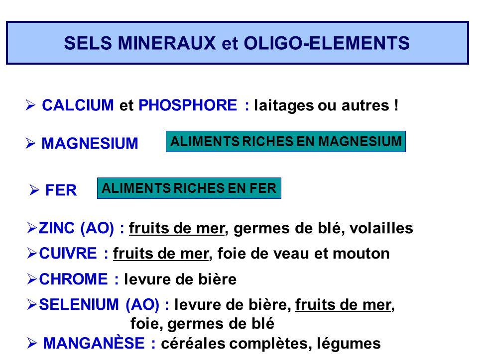 SELS MINERAUX et OLIGO-ELEMENTS