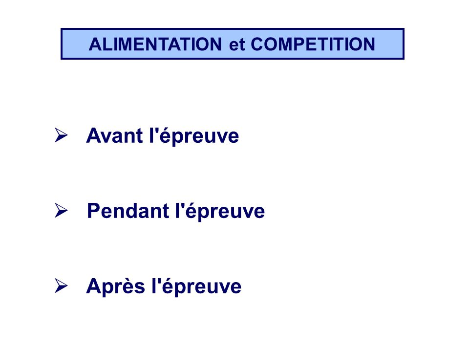 ALIMENTATION et COMPETITION