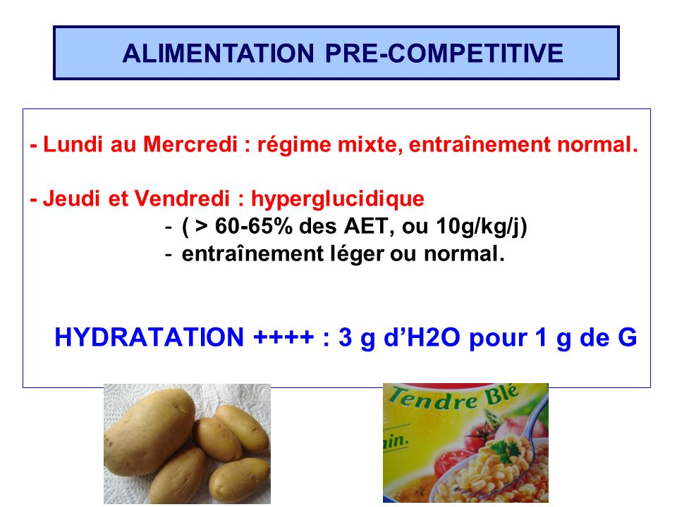ALIMENTATION PRE-COMPETITIVE