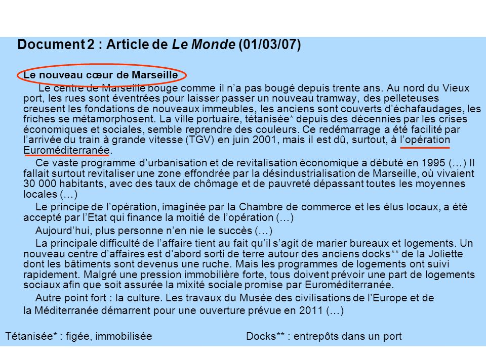 Document 2 : Article de Le Monde (01/03/07)