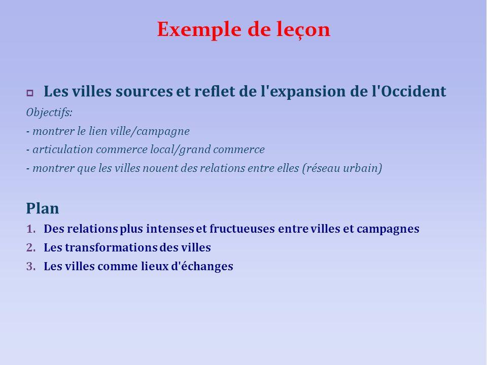 Exemple de leçon Les villes sources et reflet de l expansion de l Occident. Objectifs: - montrer le lien ville/campagne.