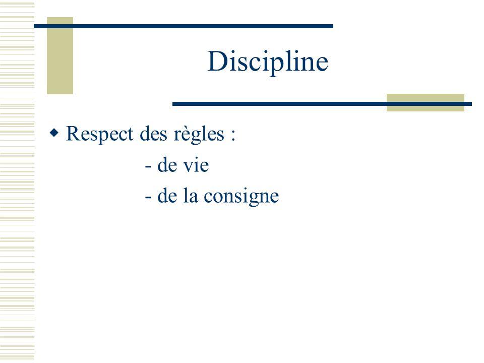Discipline Respect des règles : - de vie - de la consigne