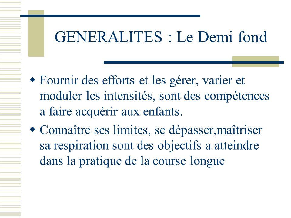 GENERALITES : Le Demi fond