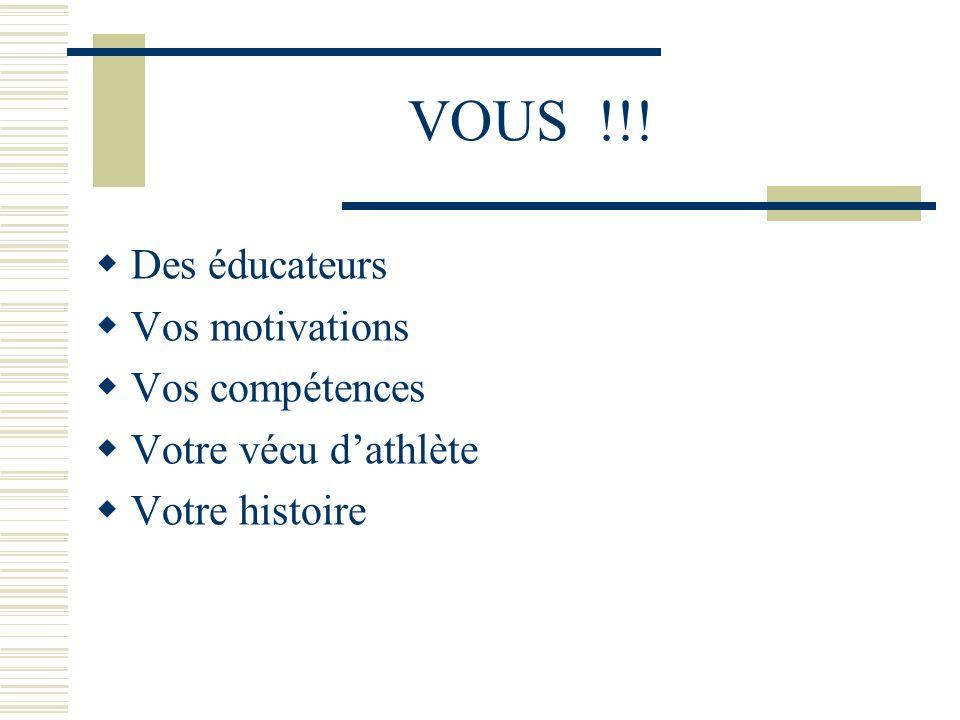 VOUS !!! Des éducateurs Vos motivations Vos compétences