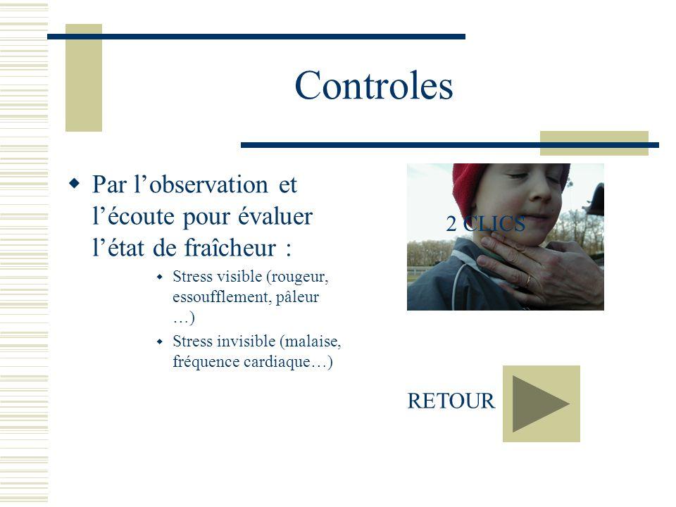 Controles Par l'observation et l'écoute pour évaluer l'état de fraîcheur : Stress visible (rougeur, essoufflement, pâleur …)