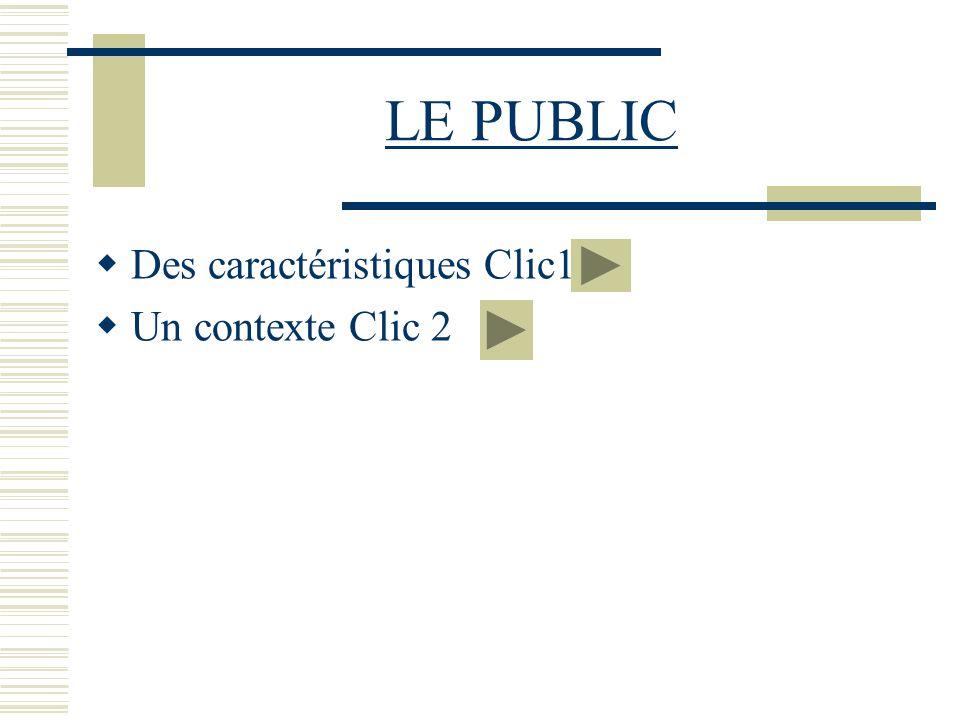 LE PUBLIC Des caractéristiques Clic1 Un contexte Clic 2