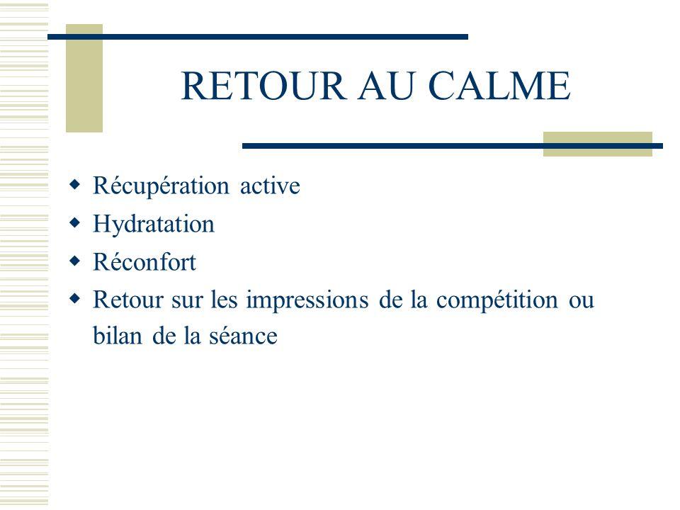 RETOUR AU CALME Récupération active Hydratation Réconfort