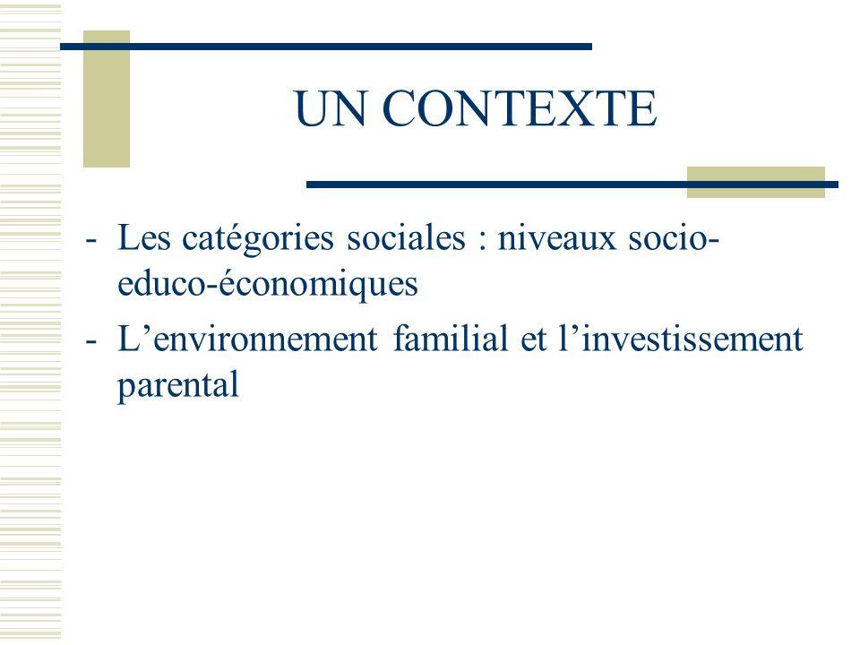 UN CONTEXTE Les catégories sociales : niveaux socio-educo-économiques