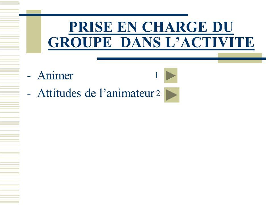 PRISE EN CHARGE DU GROUPE DANS L'ACTIVITE