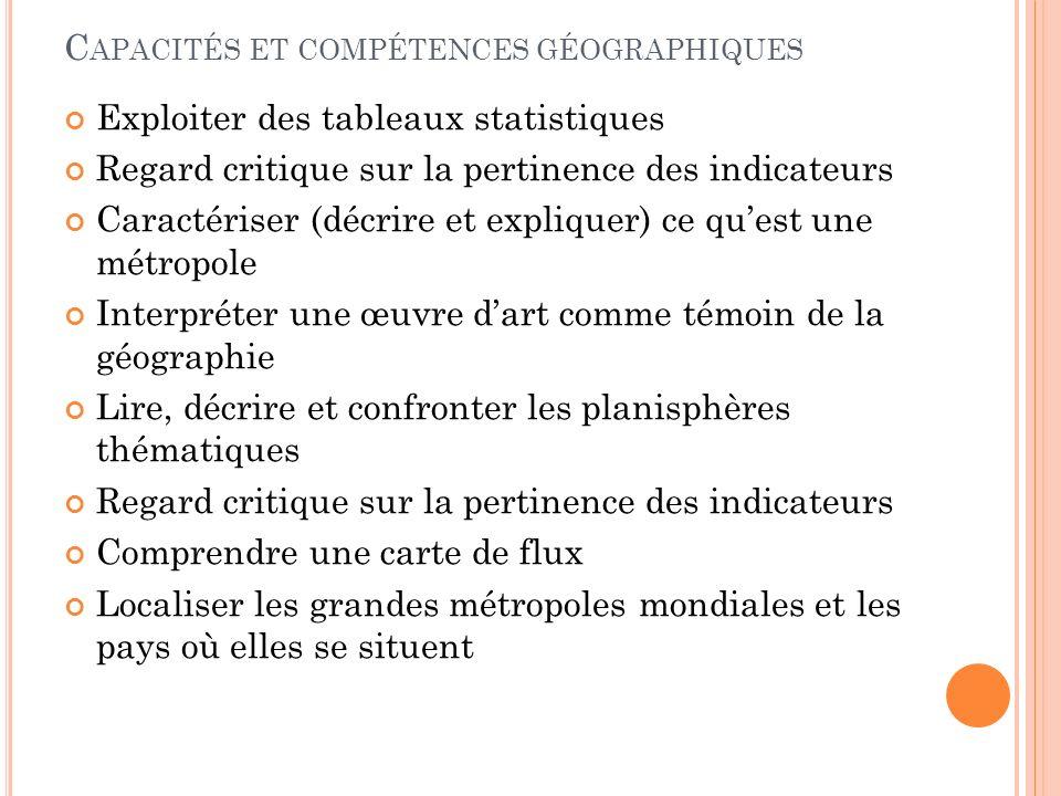 Capacités et compétences géographiques