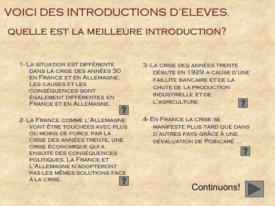 VOICI DES INTRODUCTIONS D'ELEVES, quelle est la meilleure introduction