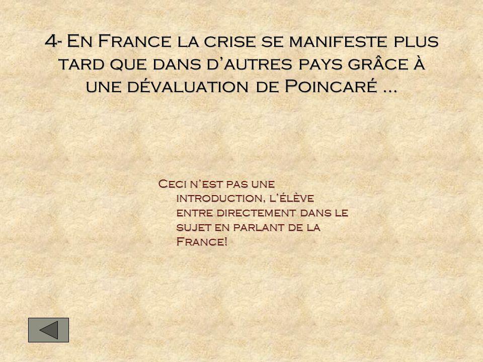 4- En France la crise se manifeste plus tard que dans d'autres pays grâce à une dévaluation de Poincaré …