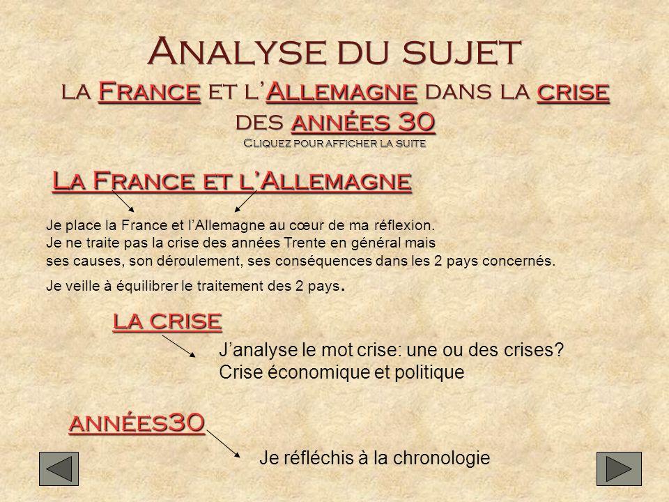 Analyse du sujet la France et l'Allemagne dans la crise des années 30 Cliquez pour afficher la suite