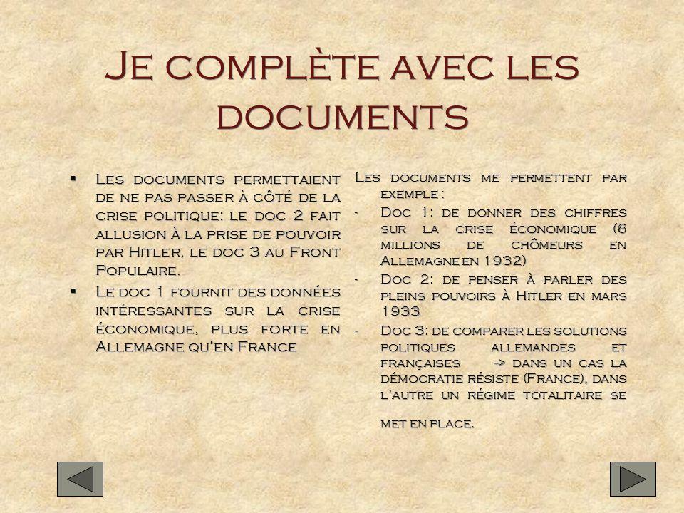 Je complète avec les documents