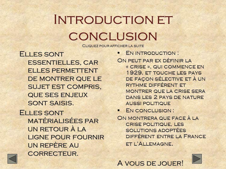 Introduction et conclusion Cliquez pour afficher la suite
