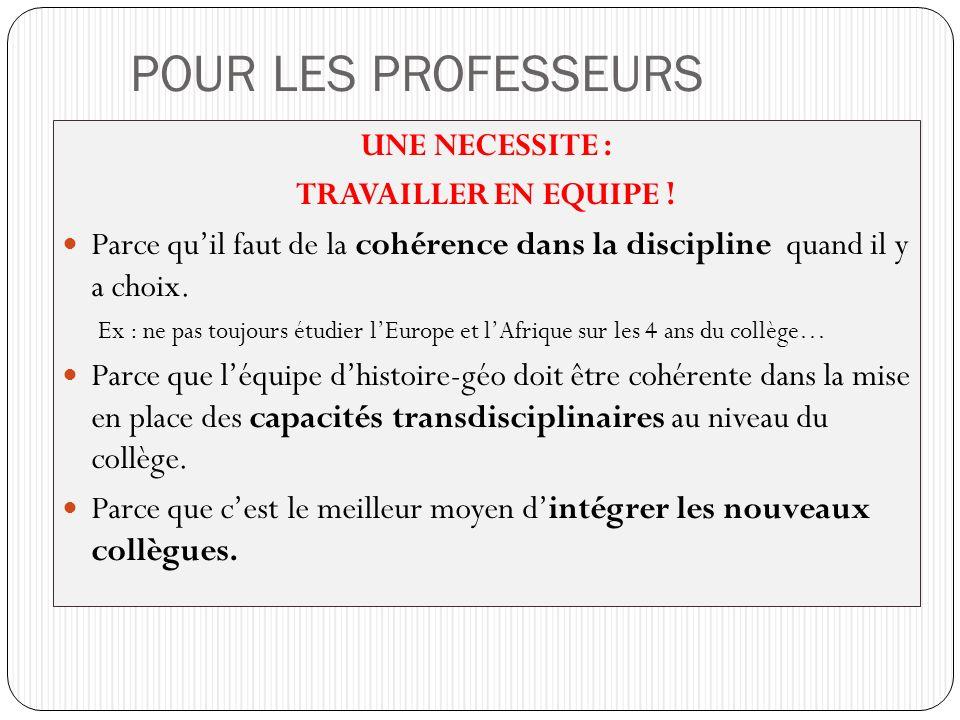 POUR LES PROFESSEURS UNE NECESSITE : TRAVAILLER EN EQUIPE !