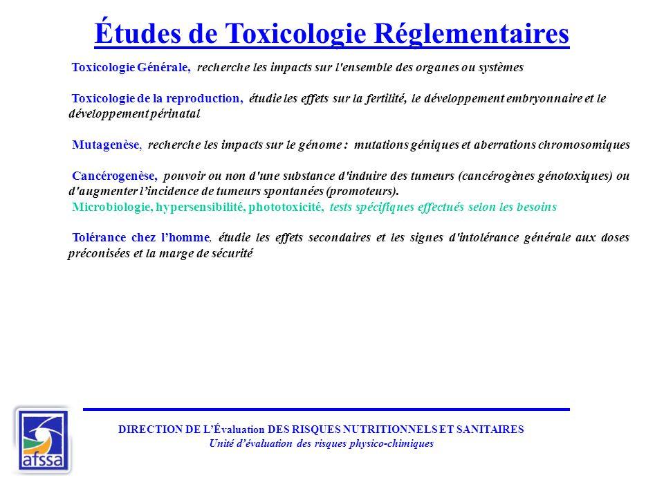 Études de Toxicologie Réglementaires