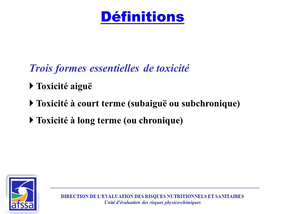 Définitions Trois formes essentielles de toxicité Toxicité aiguë