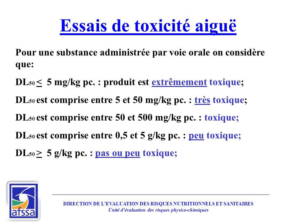 Essais de toxicité aiguë