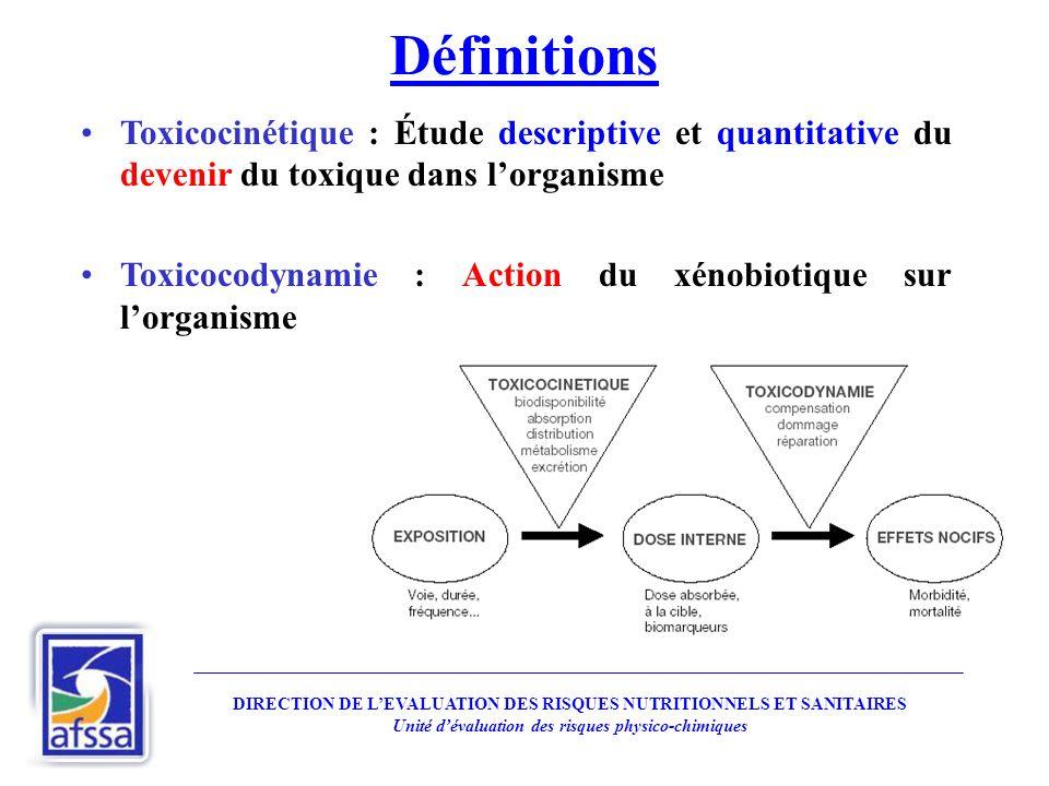 Définitions Toxicocinétique : Étude descriptive et quantitative du devenir du toxique dans l'organisme.