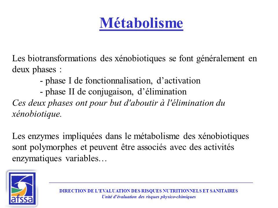 Métabolisme Les biotransformations des xénobiotiques se font généralement en deux phases : - phase I de fonctionnalisation, d'activation.