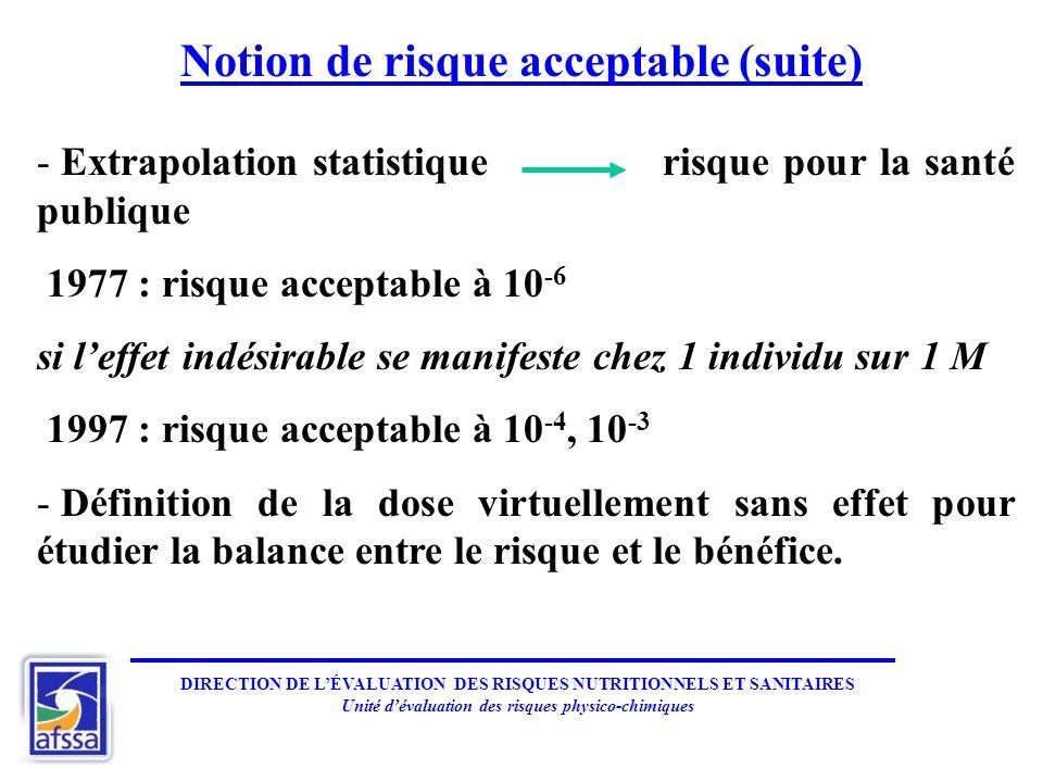 Notion de risque acceptable (suite)