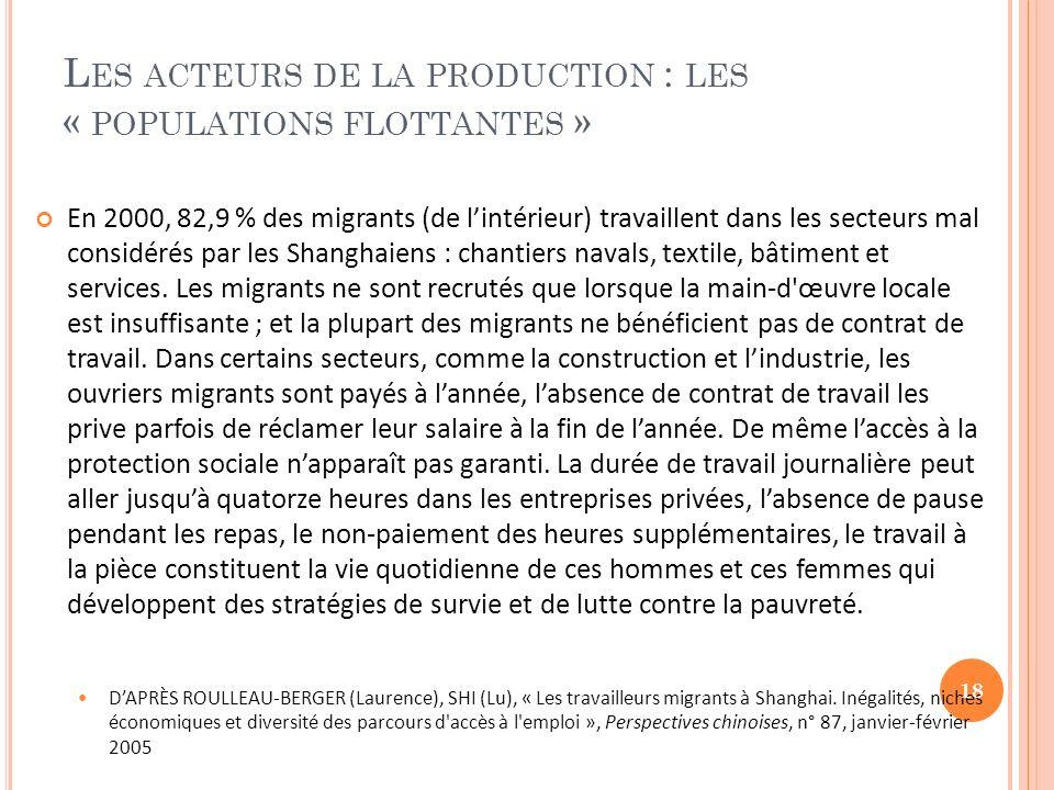 Les acteurs de la production : les « populations flottantes »