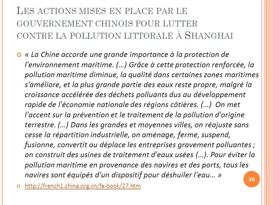 Les actions mises en place par le gouvernement chinois pour lutter contre la pollution littorale à Shanghai