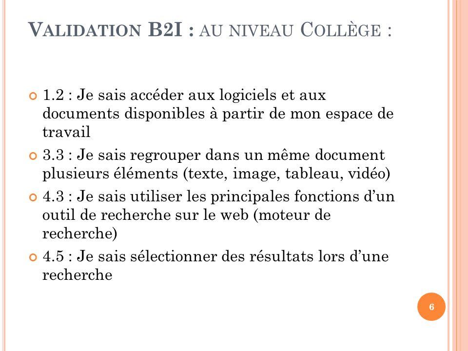 Validation B2I : au niveau Collège :