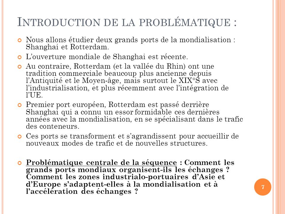 Introduction de la problématique :