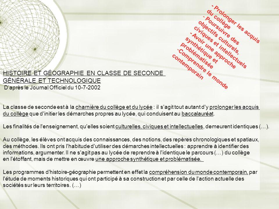 HISTOIRE ET GÉOGRAPHIE EN CLASSE DE SECONDE GÉNÉRALE ET TECHNOLOGIQUE