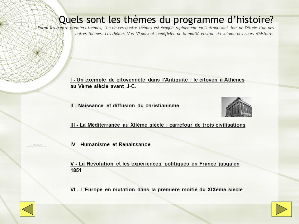 Quels sont les thèmes du programme d'histoire