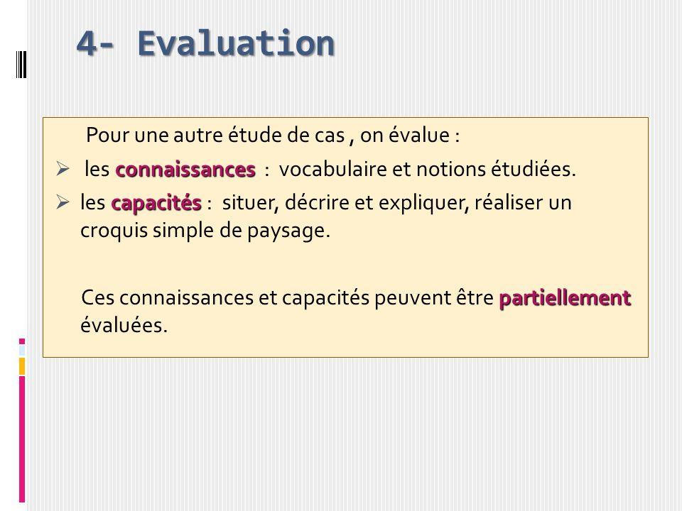 4- Evaluation Pour une autre étude de cas , on évalue :