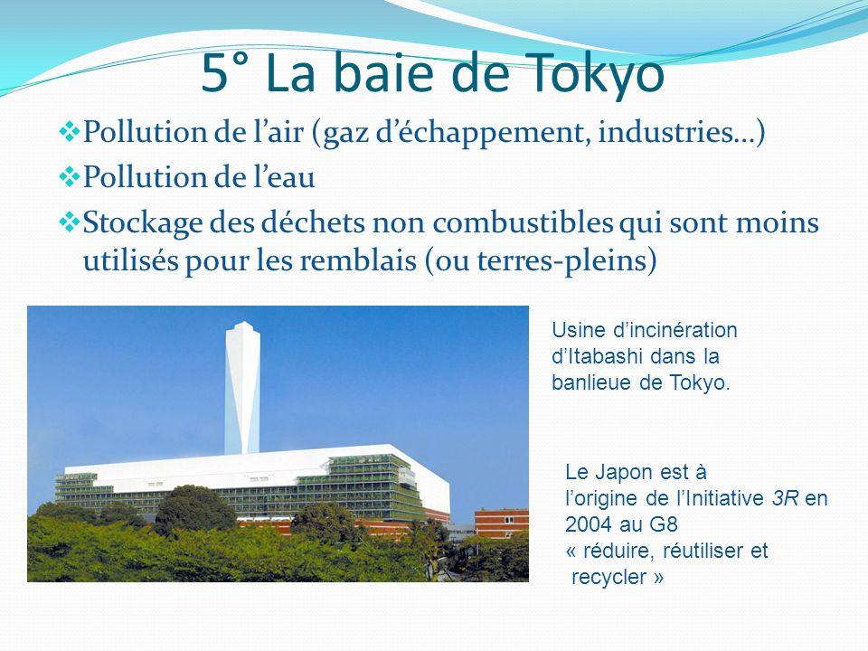 5° La baie de TokyoPollution de l'air (gaz d'échappement, industries…) Pollution de l'eau.