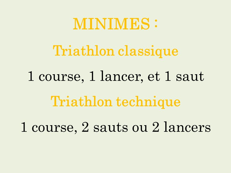 MINIMES : Triathlon classique 1 course, 1 lancer, et 1 saut Triathlon technique 1 course, 2 sauts ou 2 lancers