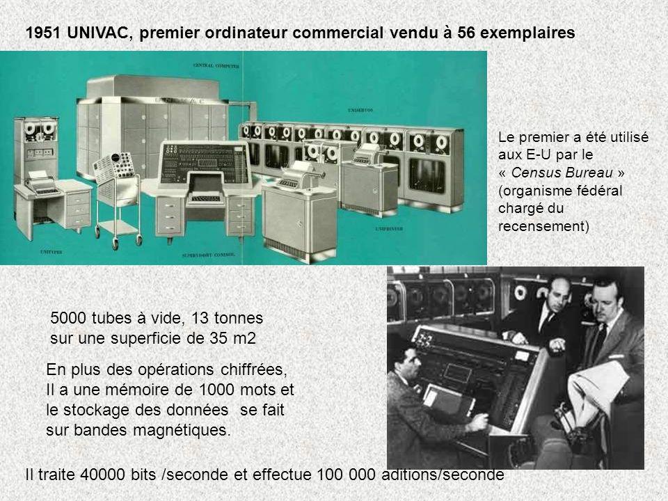 1951 UNIVAC, premier ordinateur commercial vendu à 56 exemplaires
